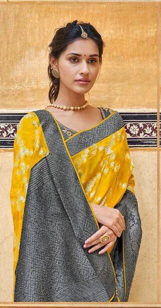 New Designer Yellow Black Color Printed Saree With Price