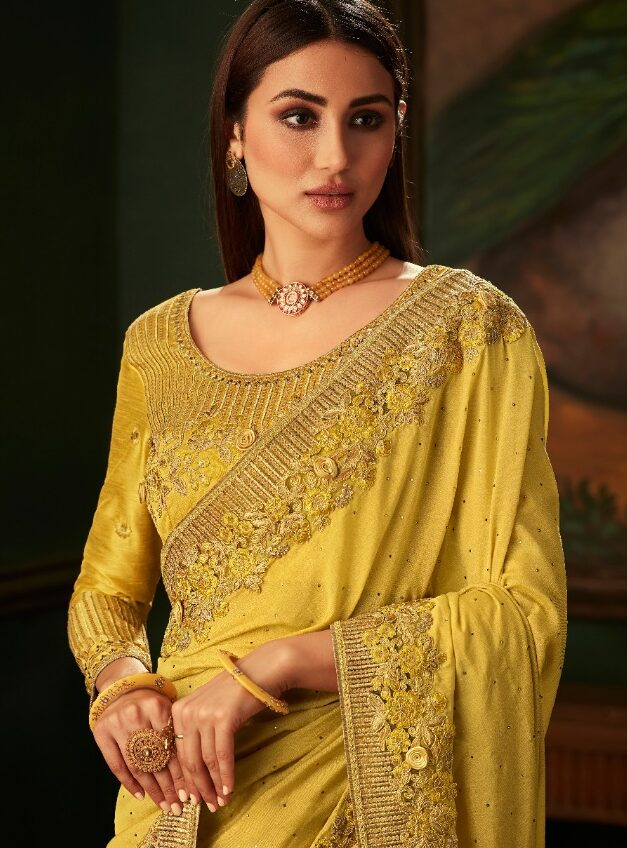 New Designer Yellow Color party wear Saree