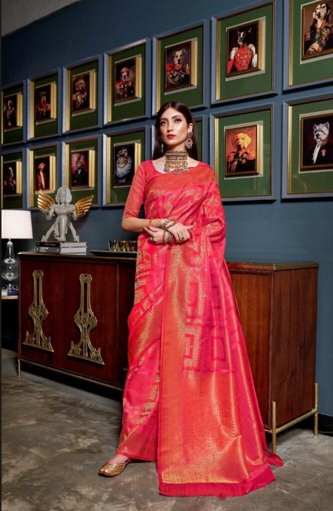 New Designer pink color Handloom Saree Silk with price