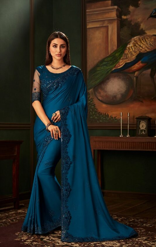 New Designer Nevi Blue Color Latest design saree