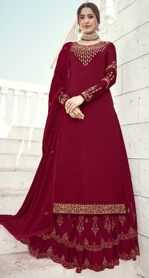 New Trend Designer Red Color Karwa Chauth Dress.