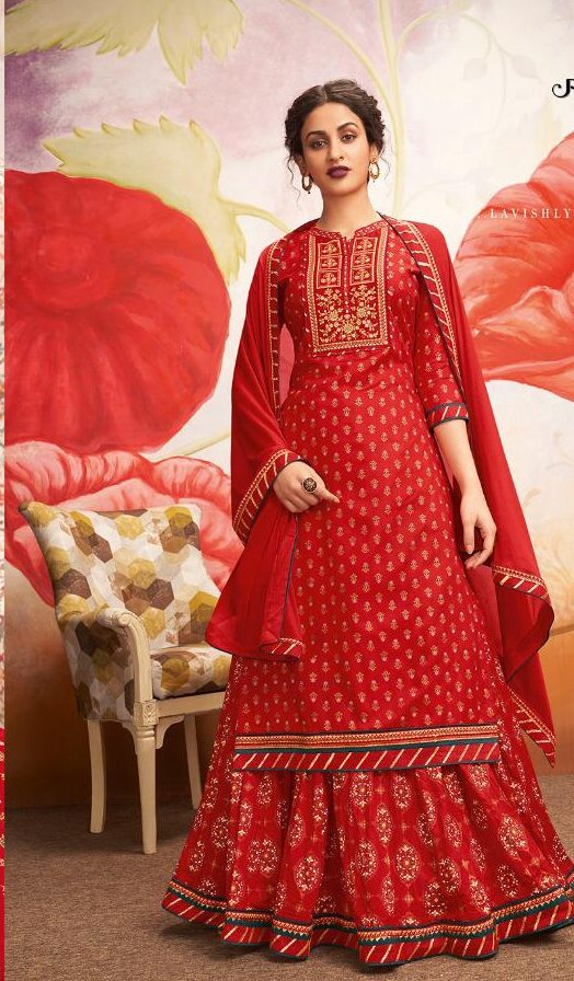 New Trend Of Designer Red Color Suit For Women