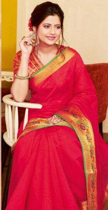 New designer Light Red Golden Border Saree