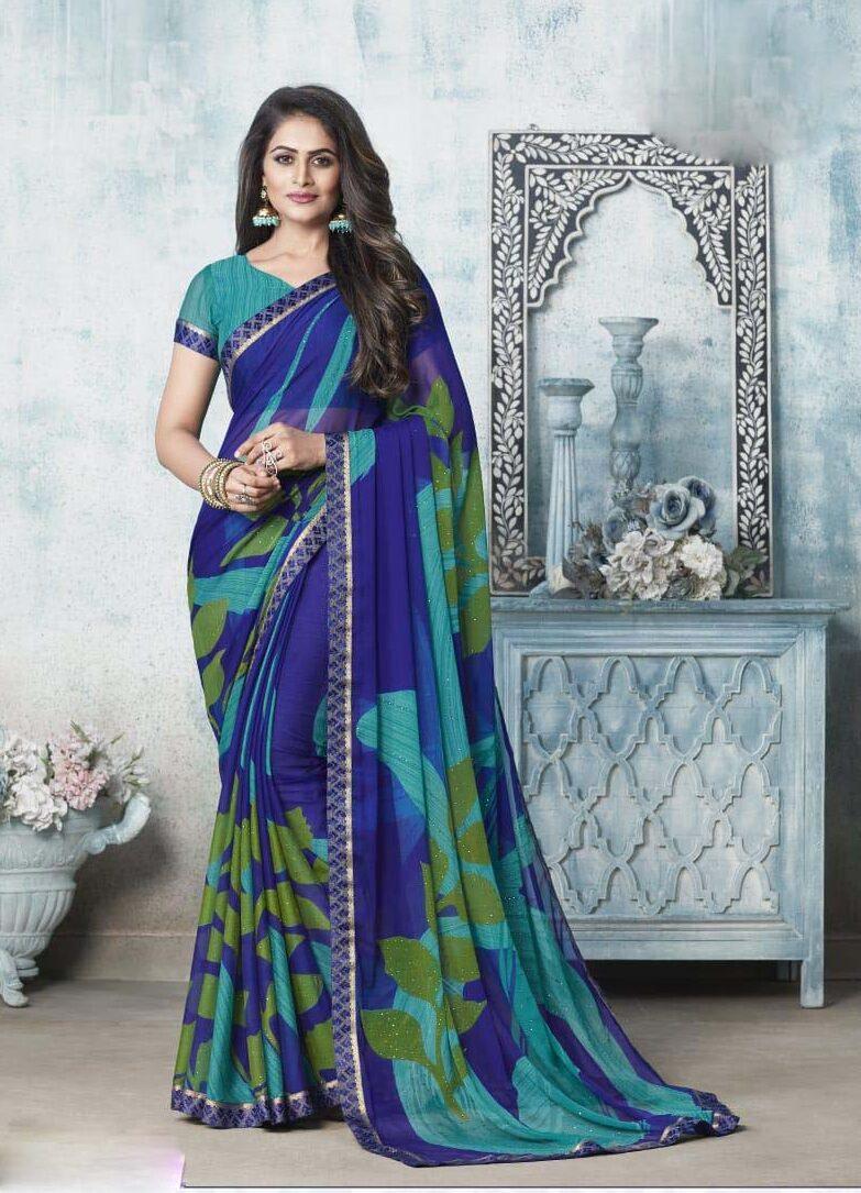 New designer blue color chiffon saree online.