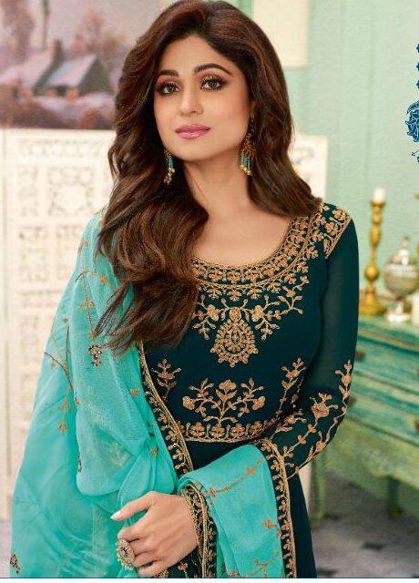 New designer blue embroidered wedding dress traditional.
