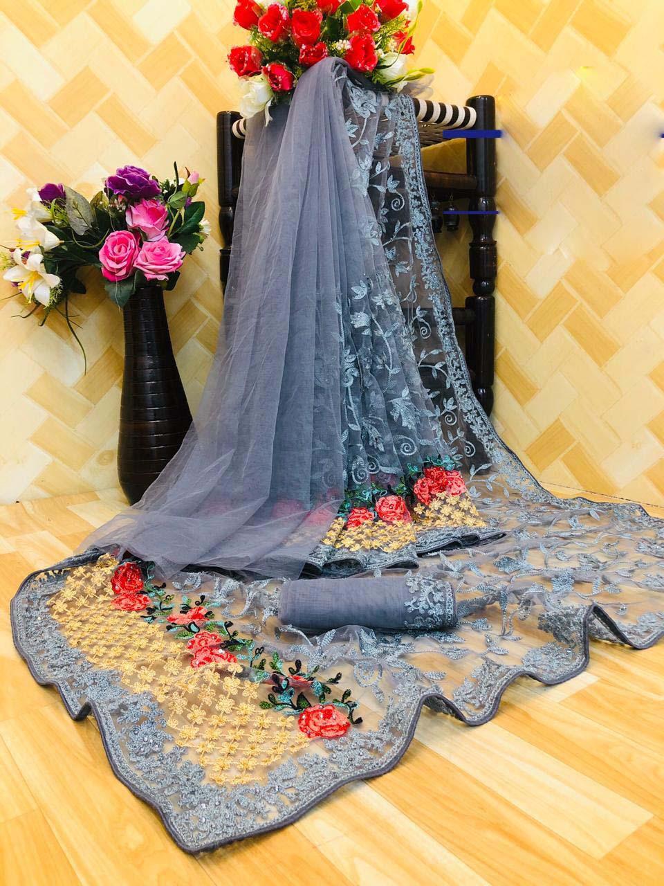 New designer gray color net saree for karwa chauth.