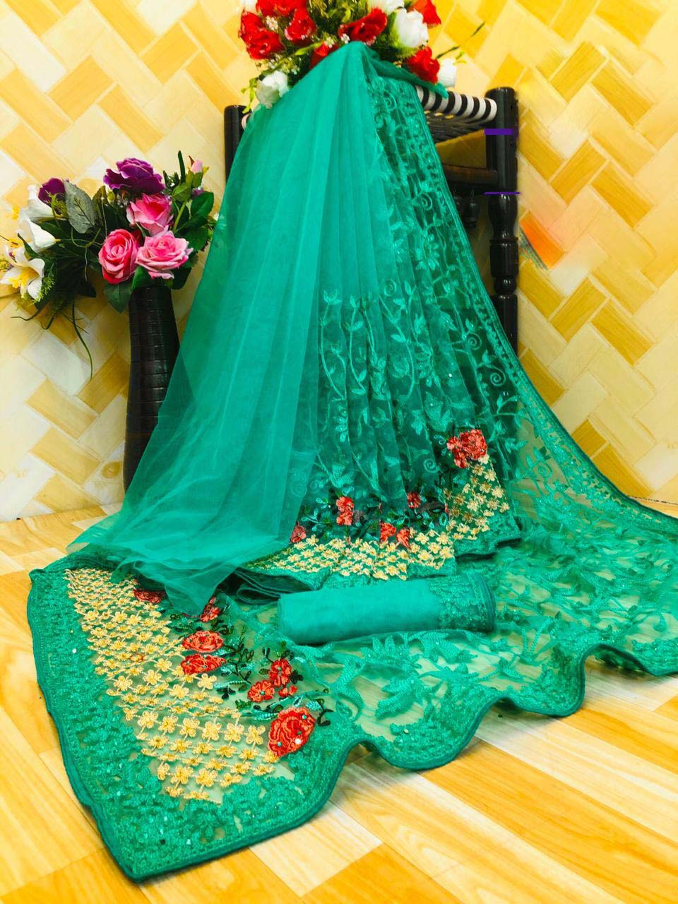 New designer green color karwa chauth special saree look