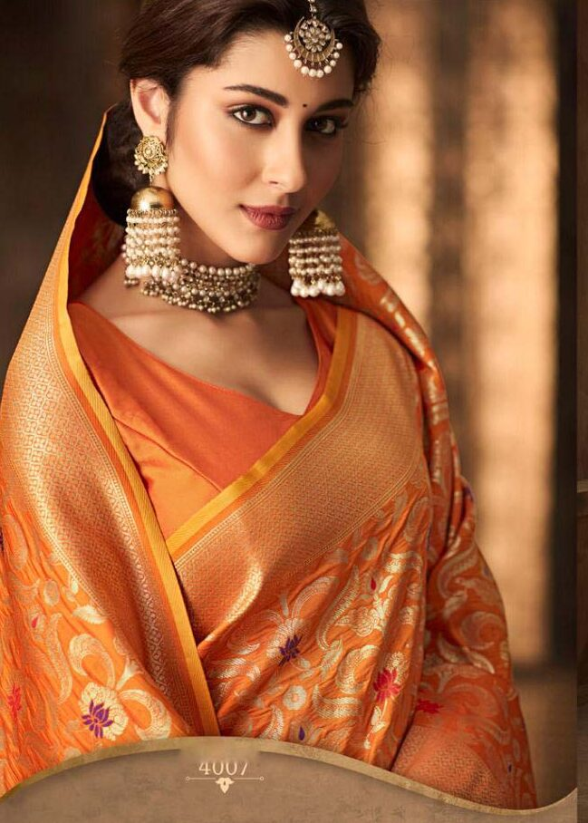New designer orange color cotton silk saree online