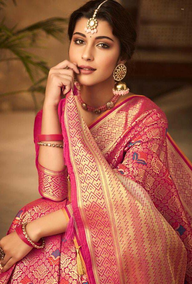 New designer pink color cotton silk saree for wedding