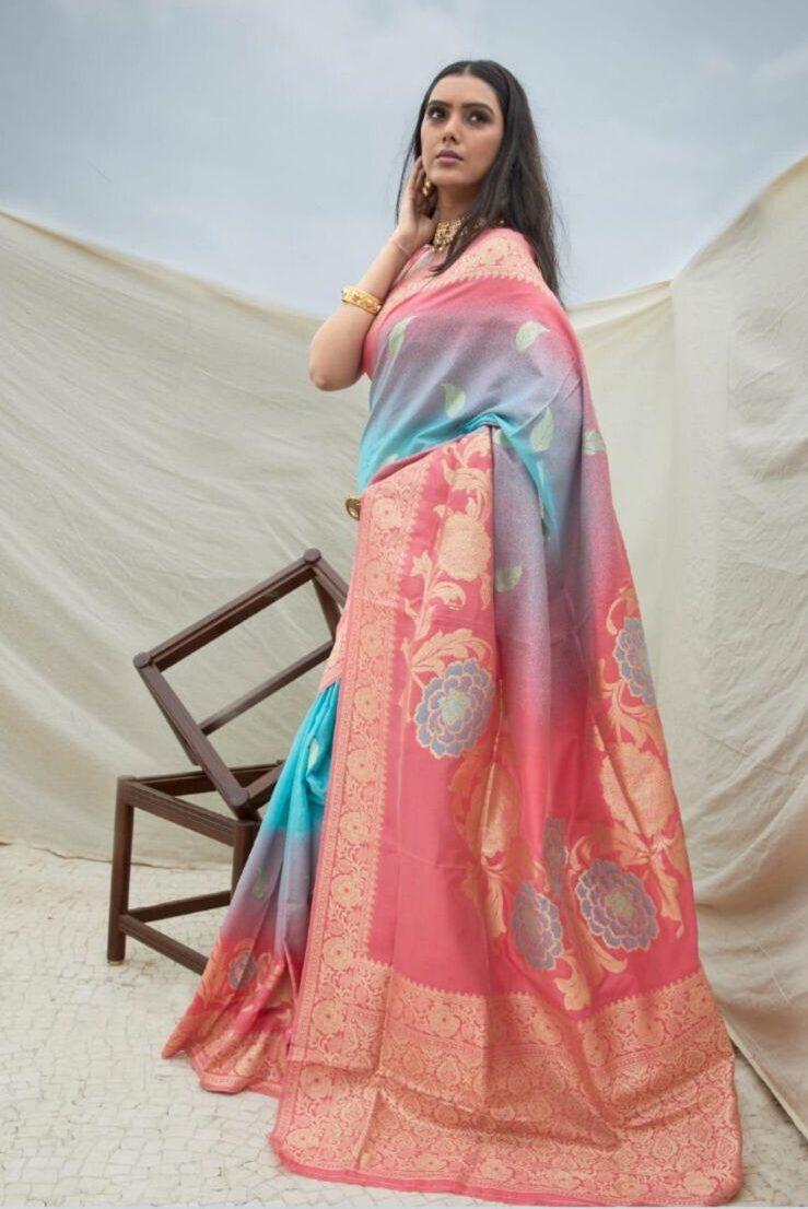 New designer pink color handloom sarees with price