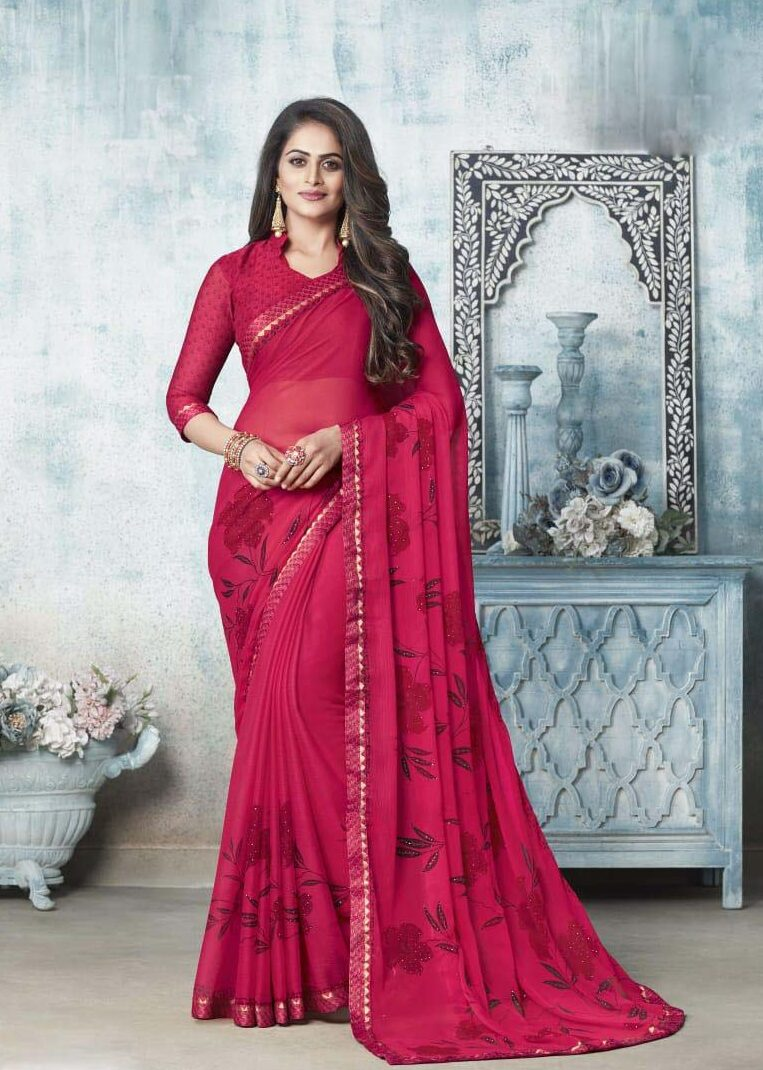 New designer red color chiffon saree blouse designs.