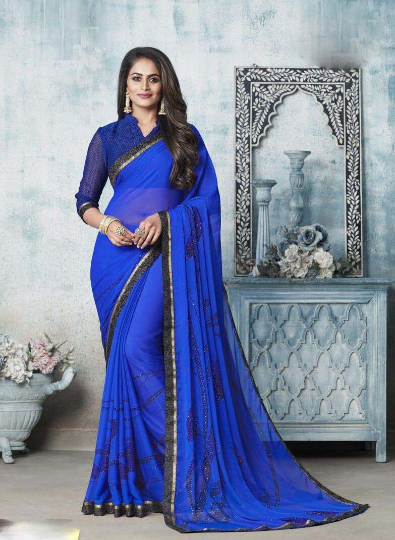 New designer sky blue chiffon saree with price.