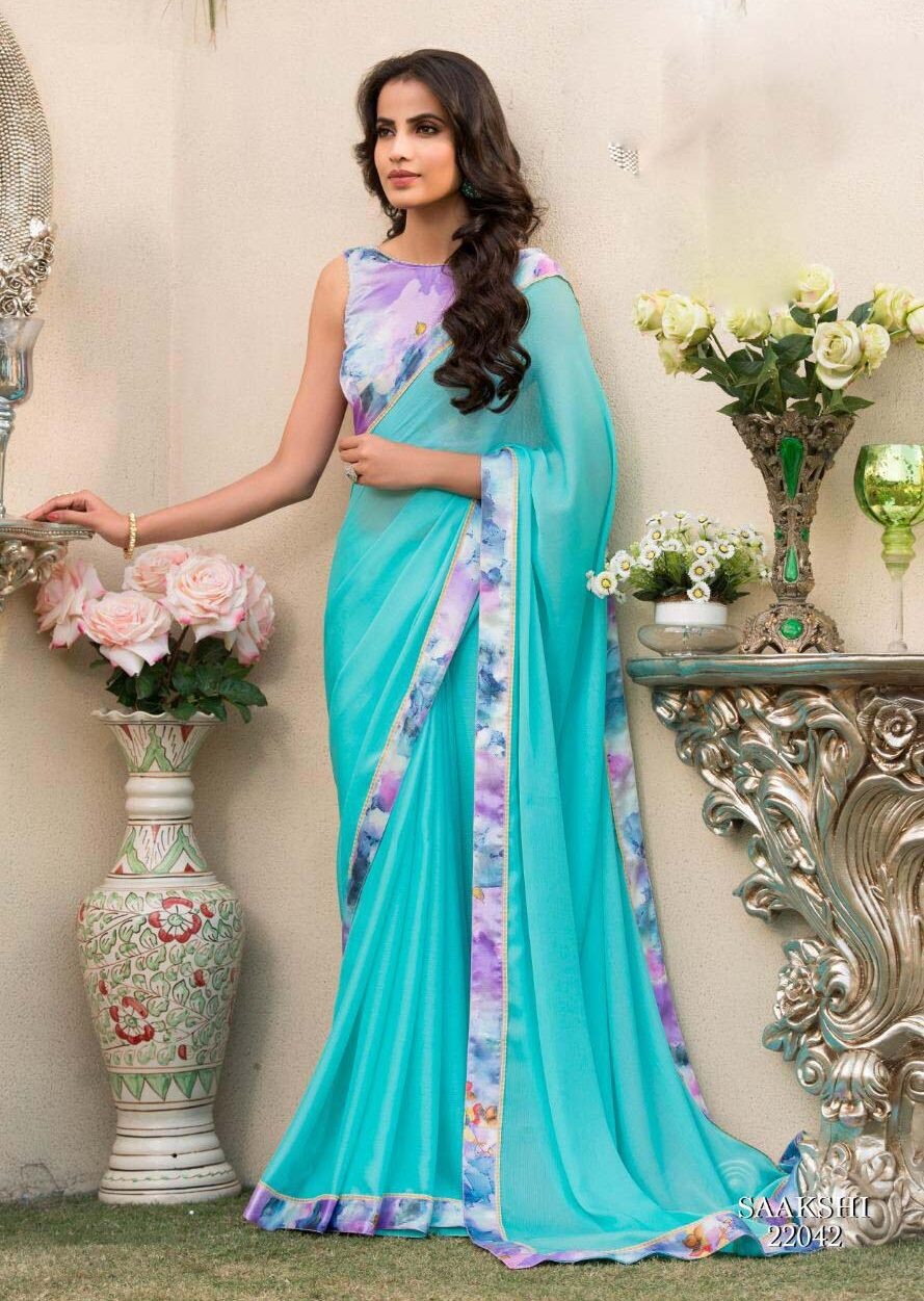 New designer sky blue color printed blouse with saree