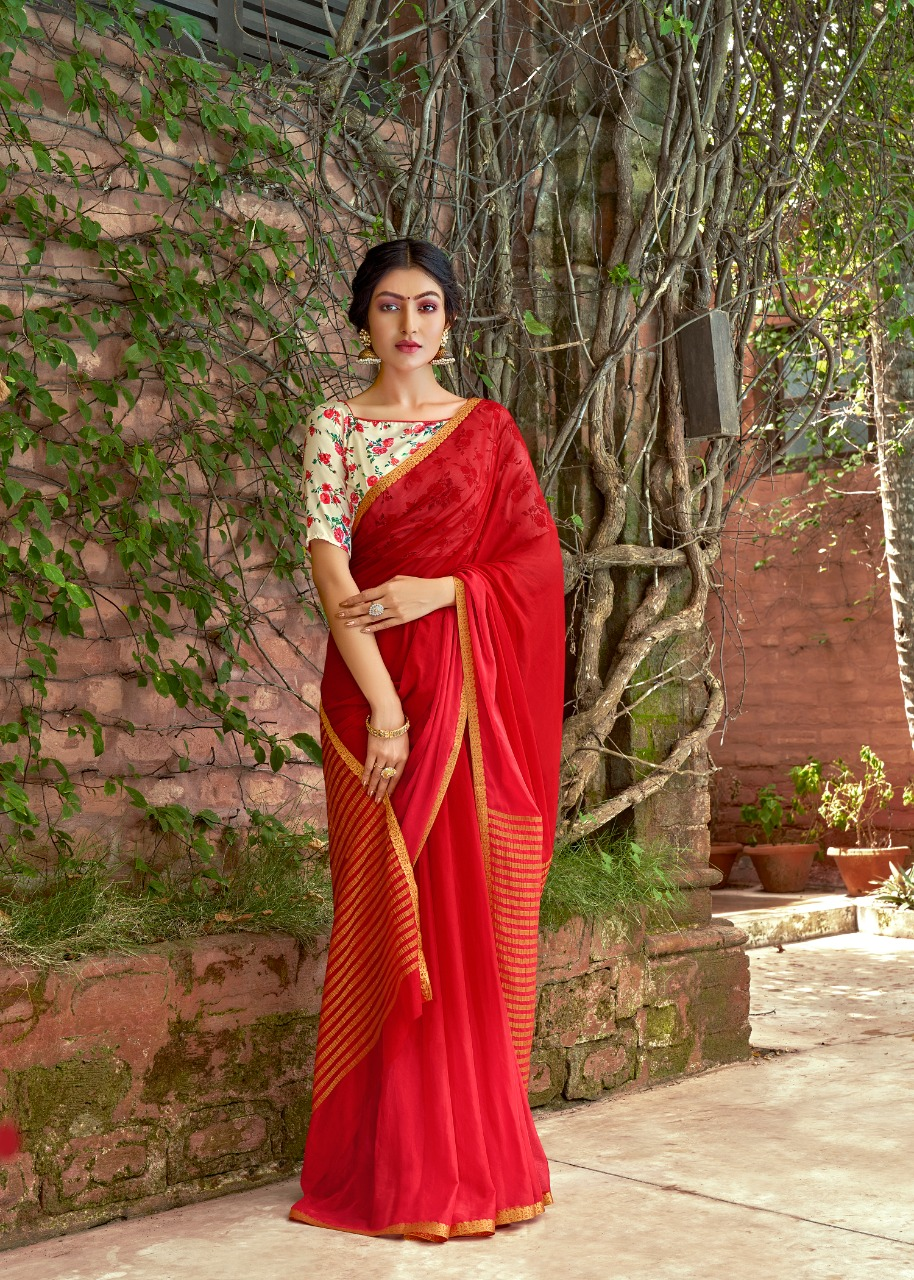 Plain Saree with Designer Blouse Printed Contrast SHAHiFits
