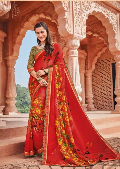 Red Colour Contrast Blouse Latest Daily Wear Sarees with Price