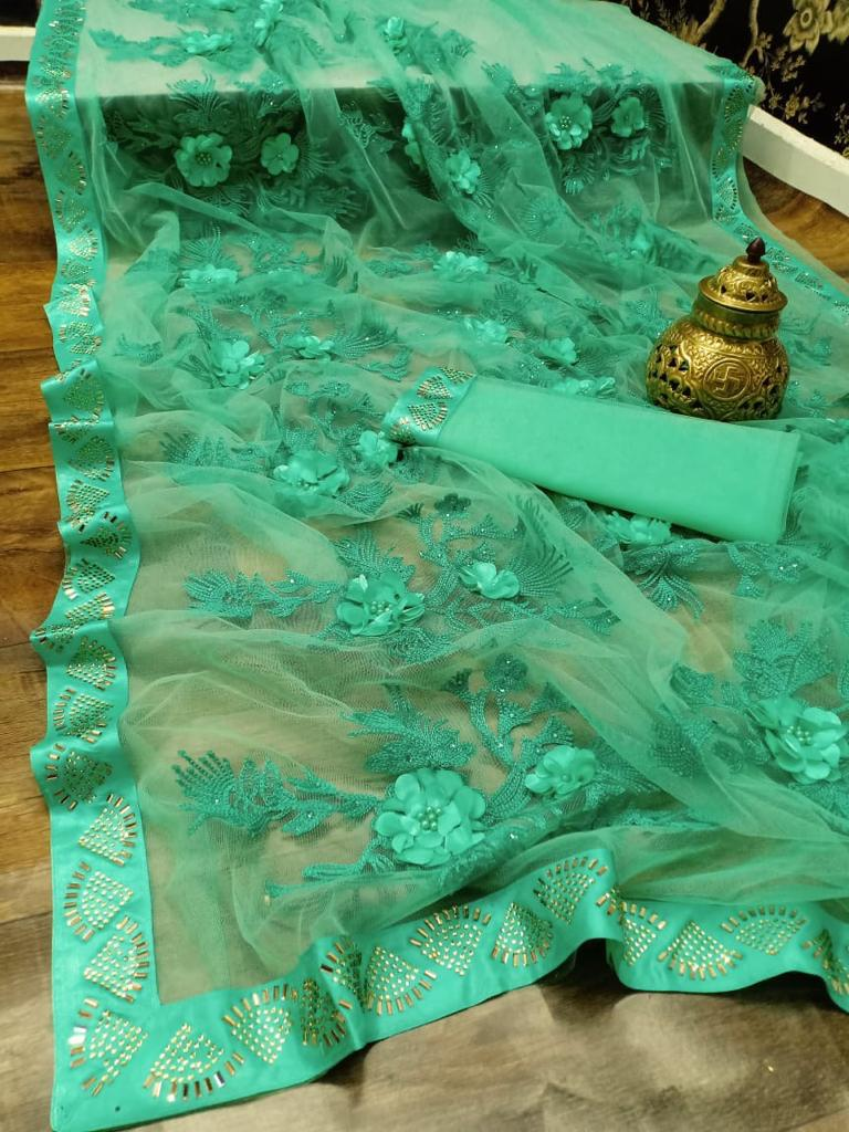 Royal Baby Green Latest Saree Design 2020