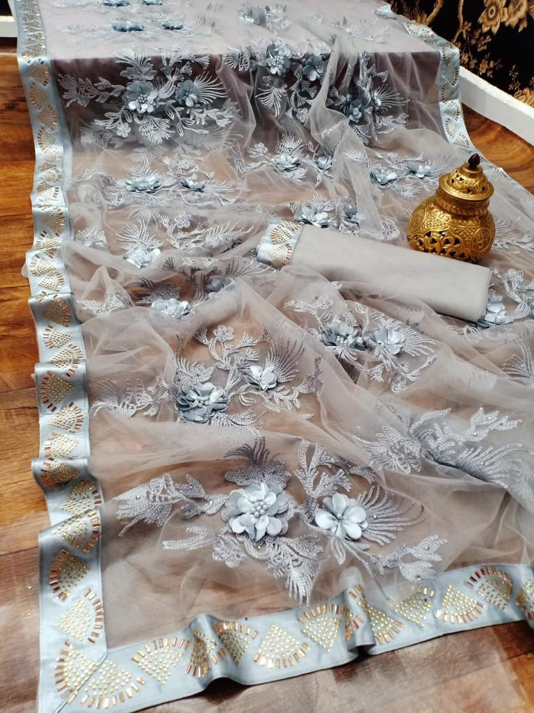 Royal Baby Grey New Fashion Saree Design