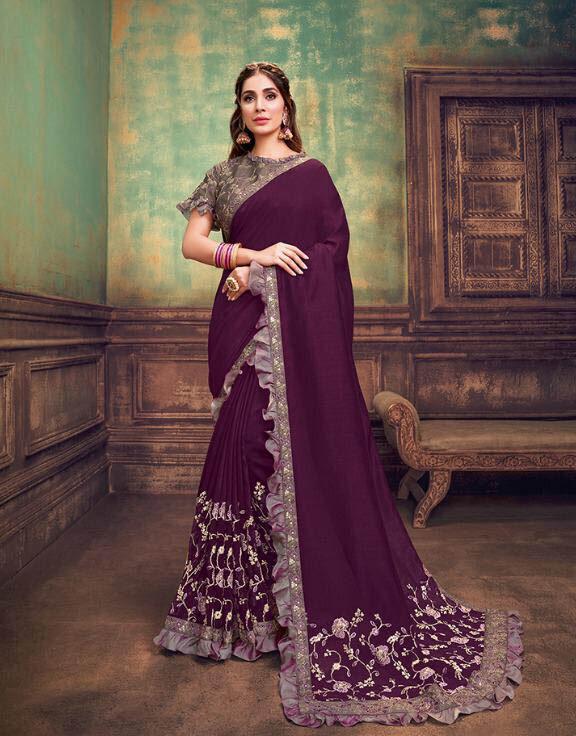 Best Designer Deep Purple Color Silk Georgette Bridal Saree