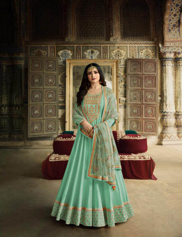 Best Embroidery Work Sky-Blue Wedding Salwar Suit For Ladies
