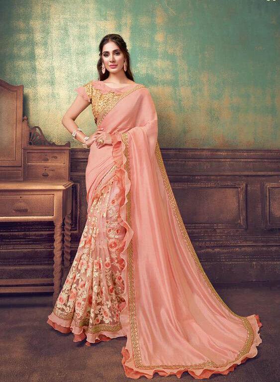 Best Net Georgette Silk Saree With Embroidery Work