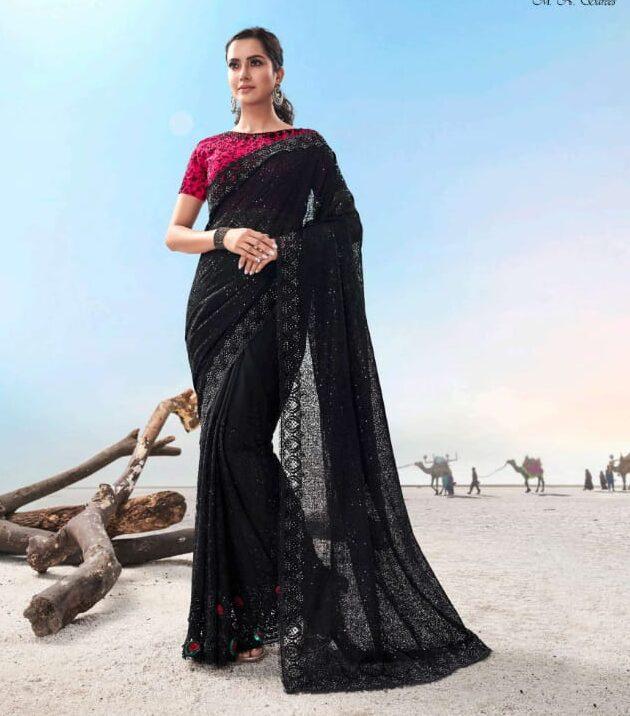 Best embroidered heavy work black color bridal saree online.