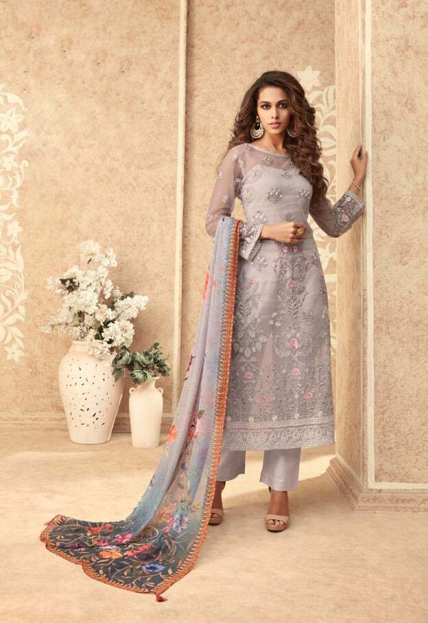 Best embroidered light grey suit with chiffon printed dupatta.