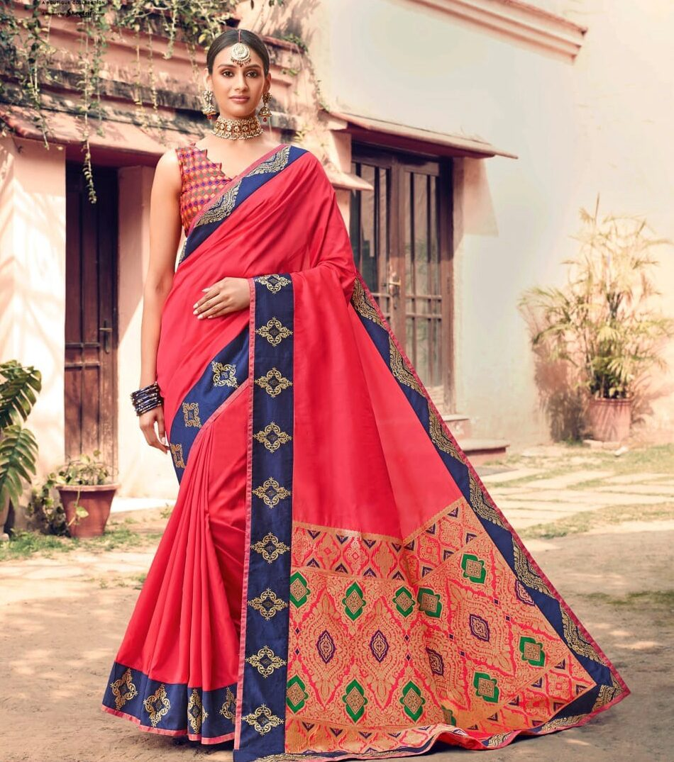 Best embroidered pink color bridal saree with a digital printed blouse