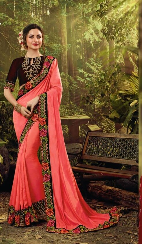 Best embroidered pink color fancy silk saree for party wear online.