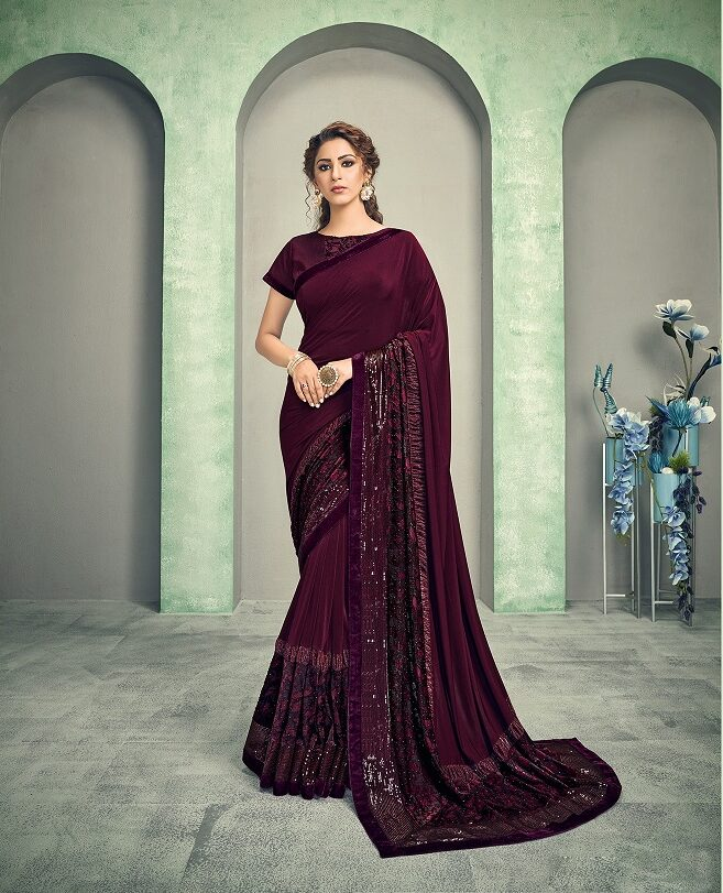 Best embroidered purple color silk saree with blouse for Resham work.