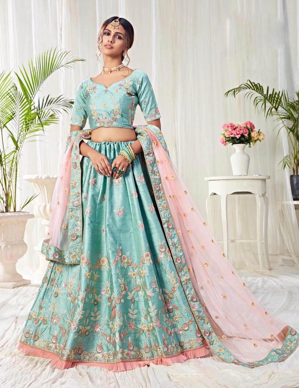 Best embroidered sky-Blue color Banglori silk bridal lehenga