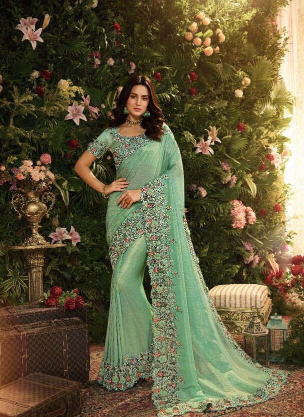 Best embroidered sky blue heavy silk saree with design blouse online