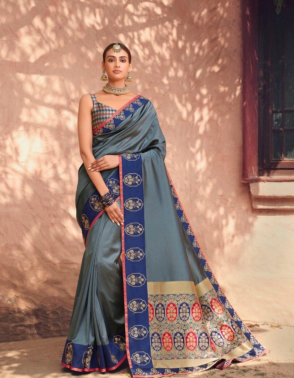 Best embroidered grey color a heavy wedding designer saree