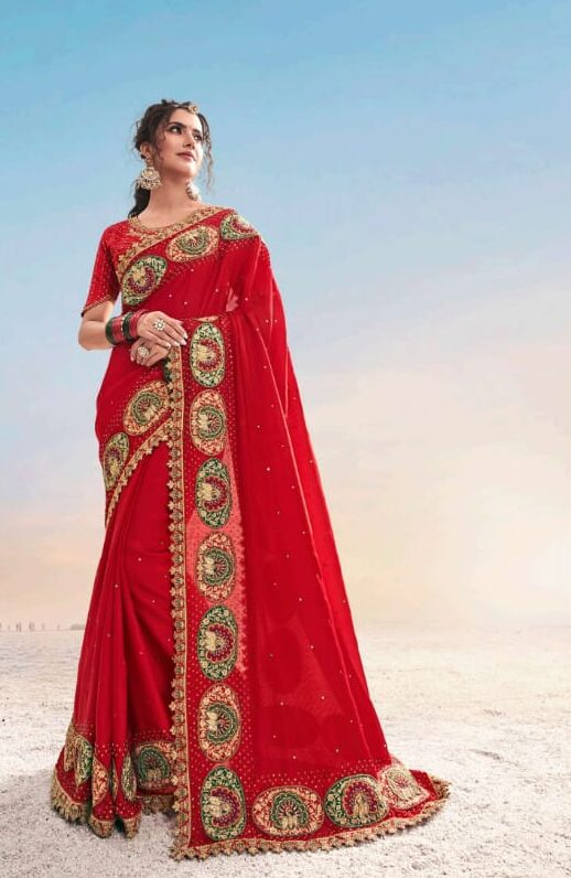 Best georgette red color heavy work saree with trendy blouse. This saree is for you for the upcoming festival. So, Best offer for you.