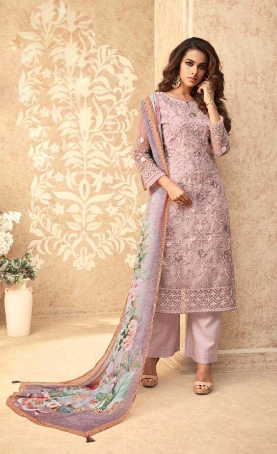 Best net embroidered light purple color banglori silk suit