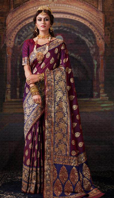 Brand New Queen Style Maker Wine Color Bridal Banarsi Silk Saree