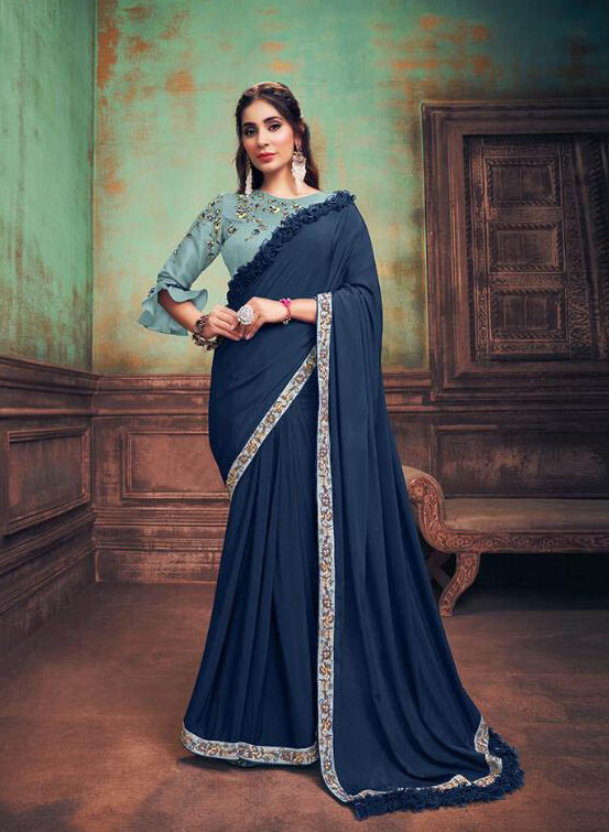 Bridal Trending Tulle Georgette Saree With Raw Silk Blouse