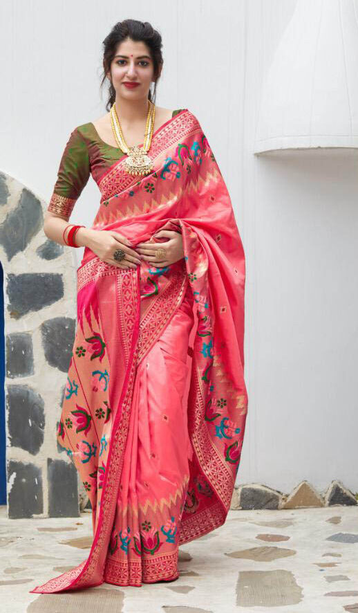 Buy Latest Mode Pink Color Thread Saree With Blouse