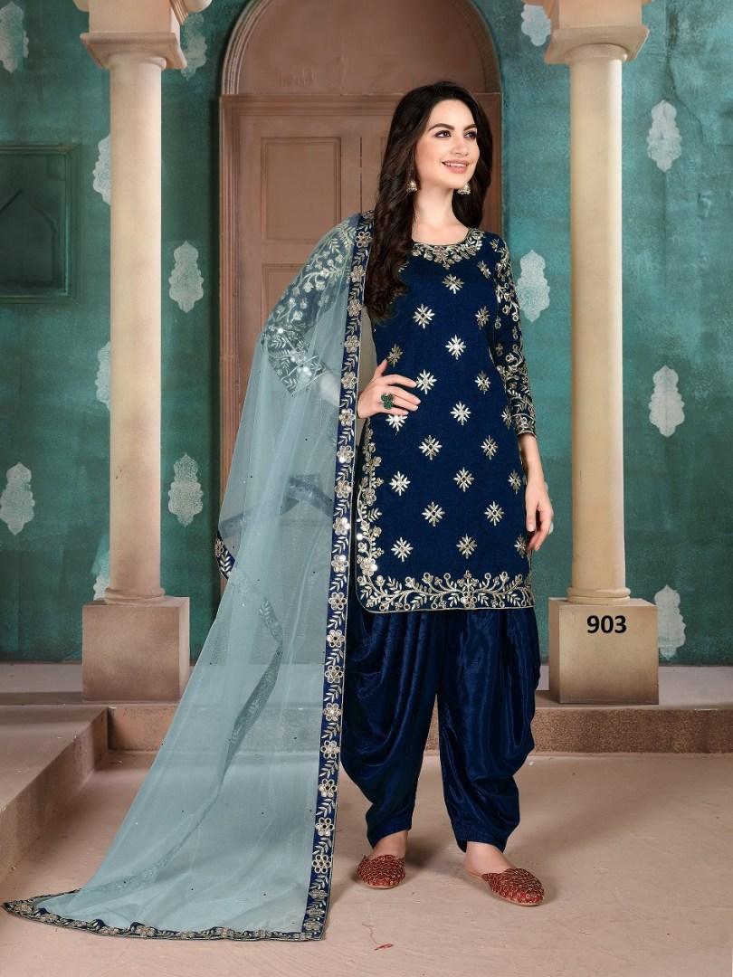 Dark Blue Colour Patiala Suit for Women
