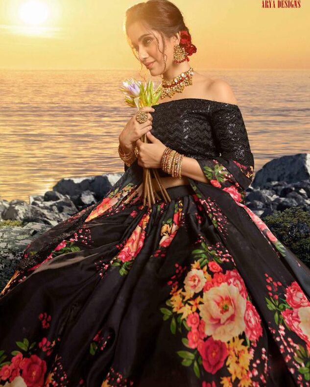 Designer Floral Print Lehenga with Crop Top 2020