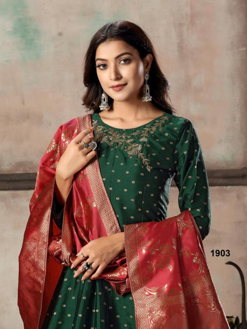 Designer Gown with Banarasi Dupatta Online