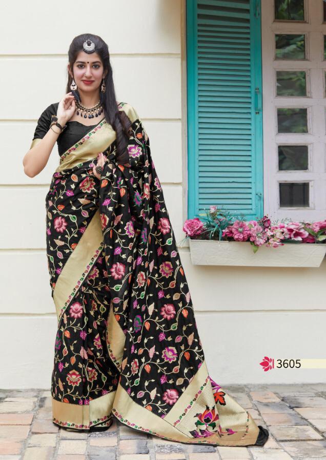 Floral Black Designer Silk Saree Blouse Designs 2020