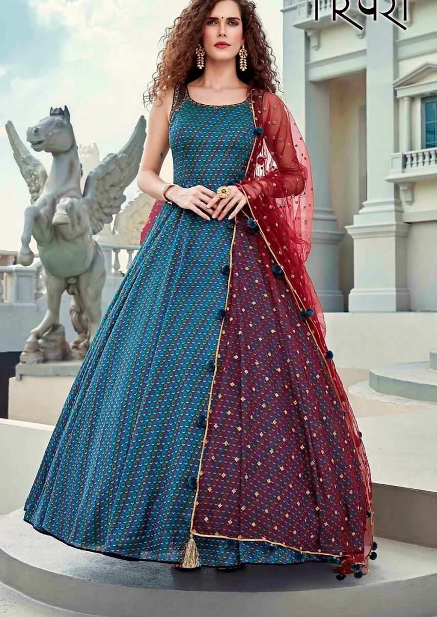 Party Wear Blue Colour Latest Gown Images with Price