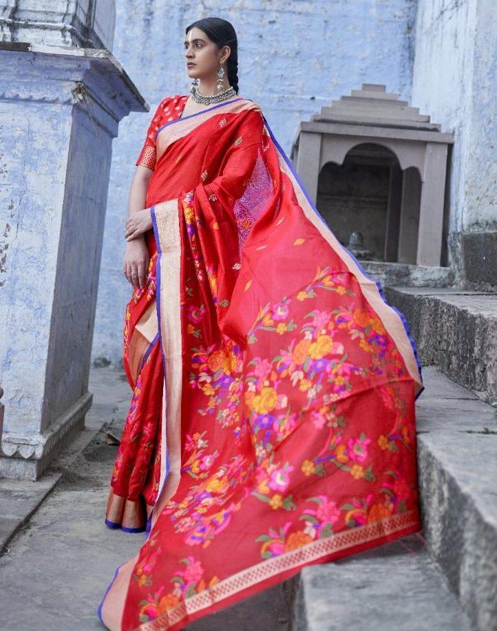 Latest Designer Red Silk Saree Below 3000