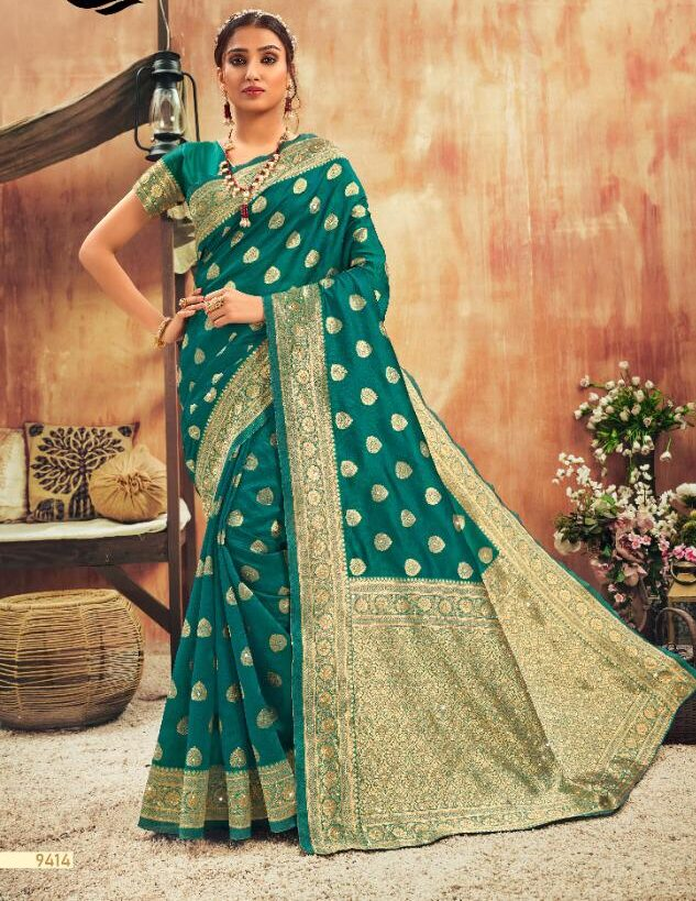 Latest Green Silk Saree with Golden Border