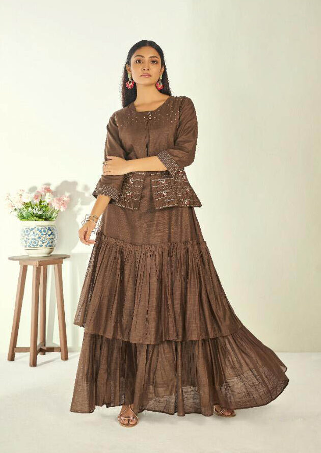 Latest Style Creator Light Brown Color Long Silk Kurti
