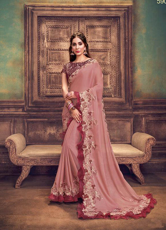 Latest Style Maker Tulle Georgette Saree With Embroidery Work