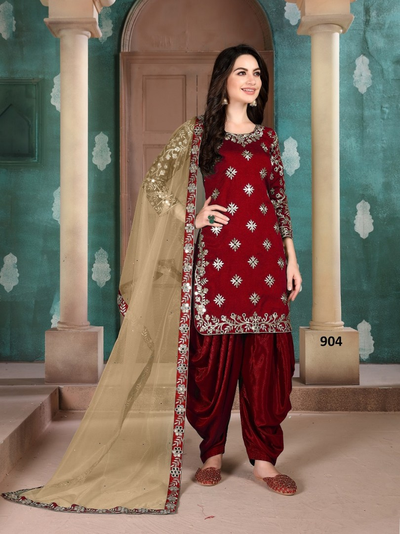 Maroon Patiala Suit Punjabi with Embroidered Dupatta