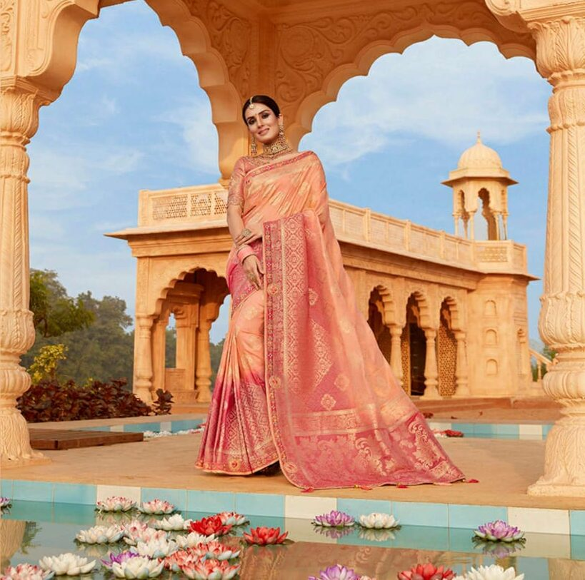 New Best Georgette Pink Color Designing Saree online