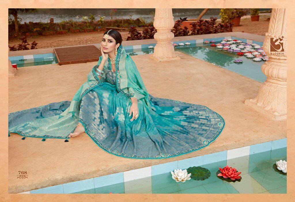New Best Trend Designer Sky Blue Silk Saree With Blouse