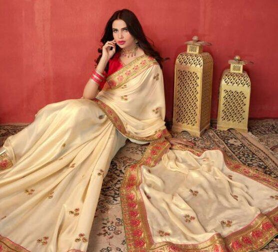 New Latest Bent Creator White Color Taffeta saree Online